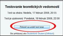 Obr. 9 Spustenie testu