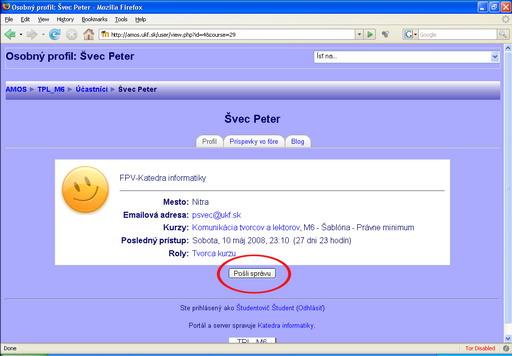Obr. 15 Profil účastníka s možnosťou poslať správu