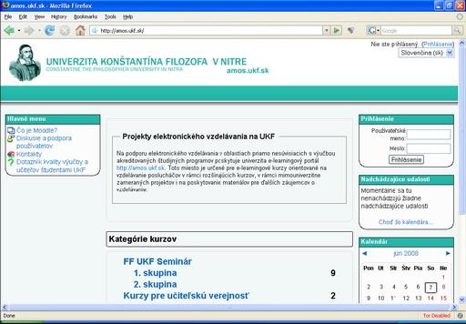 Obr. 1 Úvodná stránka http://amos.ukf.sk